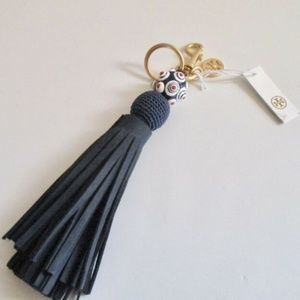 Tory Burch leather tassel key fob